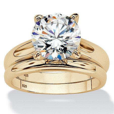 Round Cubic Zirconia 2-Piece Solitaire Wedding Ring Set 3 TCW in 14k Gold over Sterling Silver at PalmBeach Jewelry
