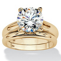 SETA JEWELRY Round Cubic Zirconia 2-Piece Solitaire Wedding Ring Set 3 TCW in 14k Gold over Sterling Silver