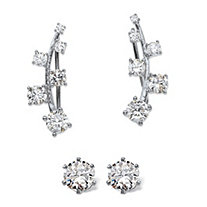 Round Cubic Zirconia Ear Climber and Stud 2-Pair Earring Set 1.72 TCW in Sterling Silver