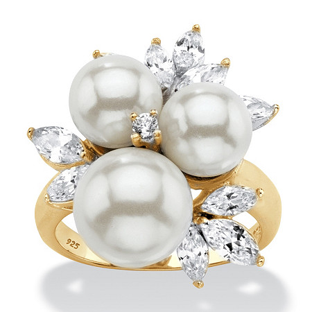 Round Simulated Pearl and Cubic Zirconia Cluster Ring 1.84 TCW in 14k Gold over Sterling Silver at PalmBeach Jewelry