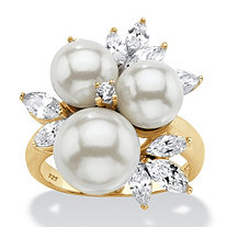 Round Simulated Pearl and Cubic Zirconia Cluster Ring 1.84 TCW in 14k Gold over Sterling Silver