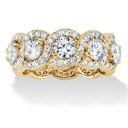 Round Cubic Zirconia Halo Crossover Eternity Ring 4.60 TCW in 14K Gold over Sterling Silver at PalmBeach Jewelry