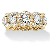 Round Cubic Zirconia Halo Crossover Eternity Ring 4.60 TCW in 14K Gold over Sterling Silver