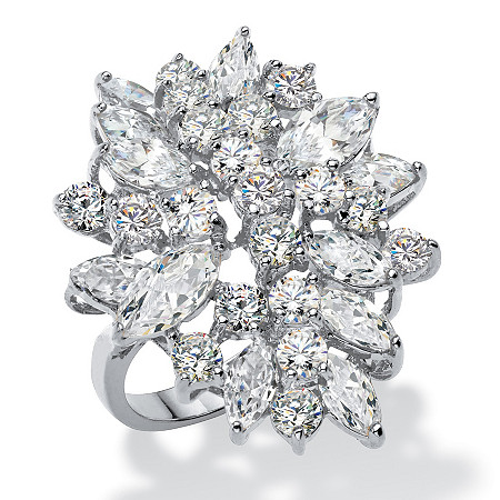 Round and Marquise Cubic Zirconia Cluster Ring 5.40 TCW in Silvertone at PalmBeach Jewelry