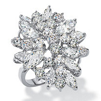 Round and Marquise Cubic Zirconia Cluster Ring 5.40 TCW in Silvertone