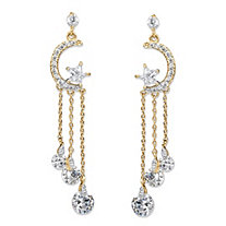 Crystal Moon and Stars Tassel Drop Earrings with Chain Accents and Crystal Droplets in Gold Tone 2""