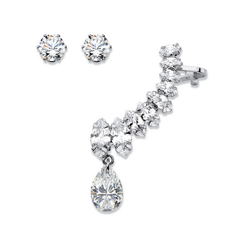 Marquise and Pear-Cut White Crystal Ear Climber Cuff and Round Stud 3-Piece Earring Set in Silvertone at PalmBeach Jewelry