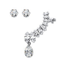 Marquise and Pear-Cut White Crystal Ear Climber Cuff and Round Stud 3-Piece Earring Set in Silvertone