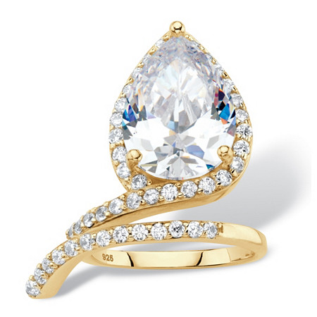 Pear-Cut White Cubic Zirconia Halo Wrap Cocktail Ring in 6.12 TCW 14k Gold over Sterling Silver at PalmBeach Jewelry