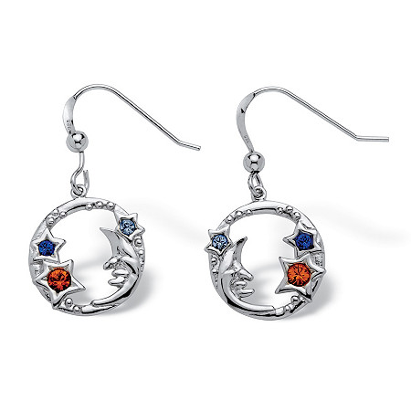 Round Crystal Sterling Silver Antique-Finish Moon and Stars Drop Earrings at PalmBeach Jewelry