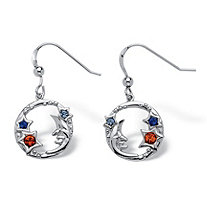 SETA JEWELRY Round Crystal Sterling Silver Antique-Finish Moon and Stars Drop Earrings