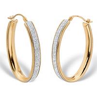 Oval Druzy Glitter Hoop Earrings 14k Gold Nano Diamond Resin Filled ONLY $73.99