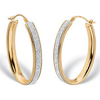 Oval Druzy Glitter Hoop Earrings 14k Gold Nano Diamond Resin Filled .75""