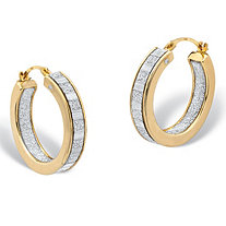 "Inside-Out Glitter Hoop Earrings 14k Gold Nano Diamond Resin Filled (3/4"")"