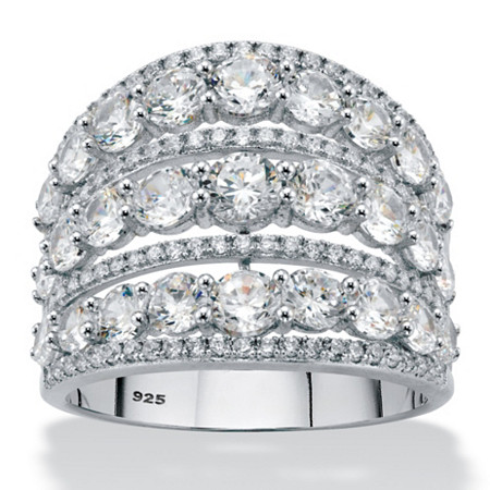 Round Cubic Zirconia Multi-Row Openwork Dome Cocktail Ring 5.23 TCW in Sterling Silver at PalmBeach Jewelry