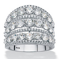 SETA JEWELRY Round Cubic Zirconia Multi-Row Openwork Dome Cocktail Ring 5.23 TCW in Sterling Silver