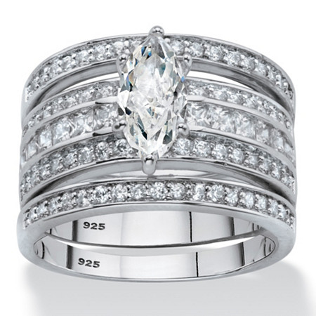 Marquise-Cut Cubic Zirconia 3-Piece Bridal Ring Set 2.20 TCW in Platinum Over Sterling Silver at PalmBeach Jewelry