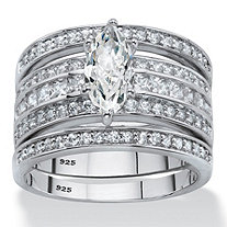 SETA JEWELRY Marquise-Cut Cubic Zirconia 3-Piece Bridal Ring Set 2.20 TCW in Platinum Over Sterling Silver