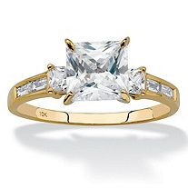 SETA JEWELRY Princess-Cut Cubic Zirconia Engagement Ring 1.80 TCW in Solid 10k Yellow Gold