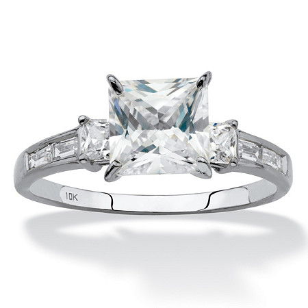 Princess-Cut Cubic Zirconia Engagement Ring (1.80 TCW ) in Solid 10k White Gold at PalmBeach Jewelry