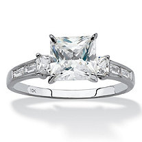 Princess-Cut Cubic Zirconia Engagement Ring (1.80 TCW ) in Solid 10k White Gold