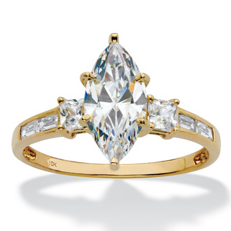 Marquise-Cut Cubic Zirconia Engagement Ring with Baguette Accents 2.50 TCW in Solid 10k Yellow Gold at PalmBeach Jewelry