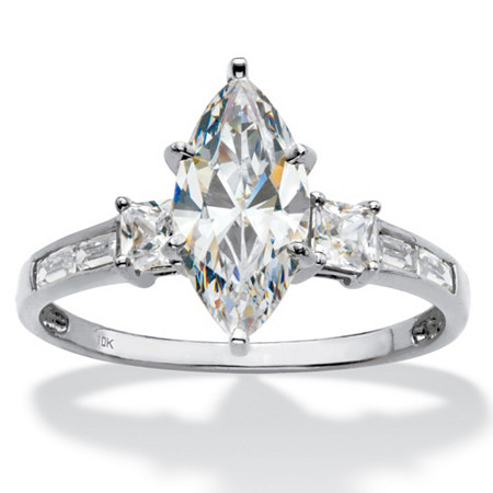 Marquise-Cut Cubic Zirconia Engagement Ring (2.50 TCW ) in Solid 10k White Gold at PalmBeach Jewelry