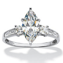 Marquise-Cut Cubic Zirconia Engagement Ring (2.50 TCW ) in Solid 10k White Gold