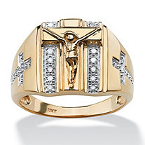 Diamond Accent Crucifix Ring 1/10 TCW in 10k Yellow Gold
