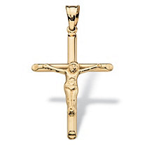 Polished and Beveled Crucifix Cross Pendant in 14k Yellow Gold 2""