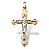 Beveled Crucifix Pendant in Two-Tone 14k Gold 1.5""