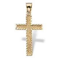 Diamond-cut Cross Pendant in Solid 14k Yellow Gold 1.5""