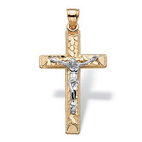 Diamond-Cut Textured Crucifix Pendant in Two-Tone Solid 14k White and Yellow Gold 1.5""