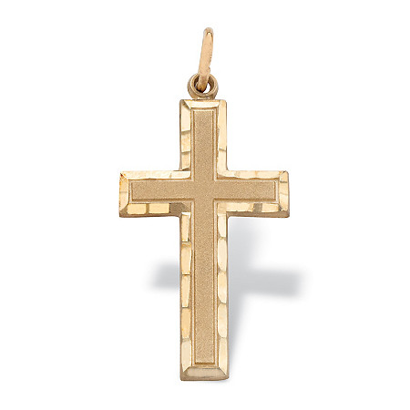 "Diamond-cut Polished and Satin Textured Cross Pendant in Solid 10k Yellow Gold 1.25"" at PalmBeach Jewelry"