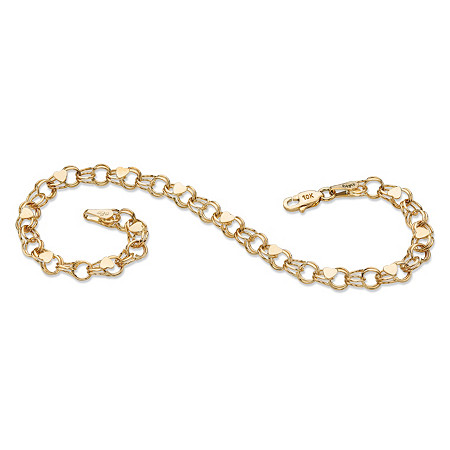 Double Rolo-Link Heart Charm Bracelet in 10k Yellow Gold 7