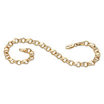 Double Rolo-Link 10k Yellow Gold Heart Charm Bracelet 8