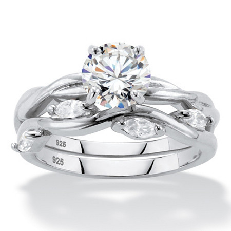 Round Cubic Zirconia 2-Piece Twisted Vine Wedding Set 1.90 TCW in Sterling Silver at Direct Charge presents PalmBeach