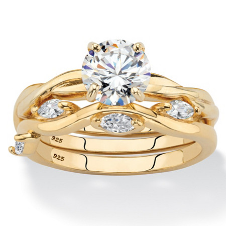 Round Cubic Zirconia 2-Piece Twisted Vine Wedding Ring Set 1.90 TCW in 14k Gold over Sterling Silver at PalmBeach Jewelry