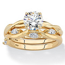 Round Cubic Zirconia 2-Piece Twisted Vine Wedding Ring Set 1.90 TCW in 14k Gold over Sterling Silver
