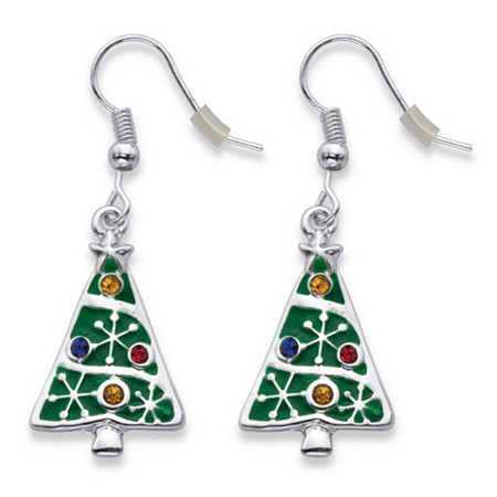 Multicolor Crystal Enamel Christmas Tree Holiday Earrings in Silvertone 1.75