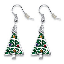 Multicolor Crystal Enamel Christmas Tree Holiday Earrings in Silvertone 1.75""