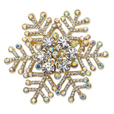 White and Aurora Borealis Crystal Holiday Snowflake Pin in Gold Tone 1.75