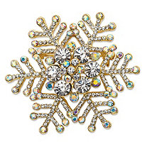 White and Aurora Borealis Crystal Holiday Snowflake Pin in Gold Tone 1.75