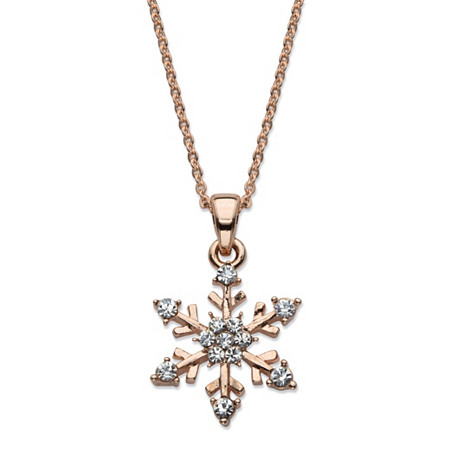 Crystal Snowflake Pendant Necklace in Rose Gold Tone 15