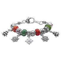 "Green and Red Holiday Crystal Beaded Adjustable Charm Bracelet in Silvertone 7""-8"""