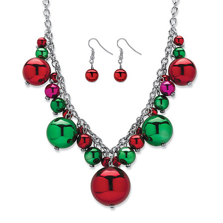 Green and Red Holiday Ball Cluster 2-Piece Christmas Bulb Earrings and Necklace Set in Silvertone 16