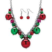 "Green and Red Holiday Ball Cluster 2-Piece Christmas Bulb Earrings and Necklace Set in Silvertone 16""-20"""