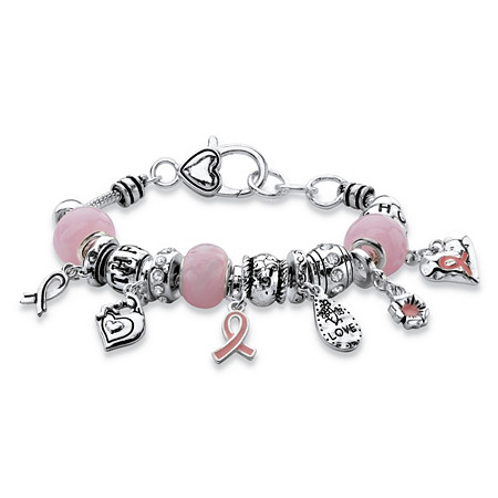 Pink Breast Cancer Bali-Style Full Beaded Charm Bracelet in Silvertone 7