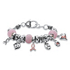 Related Item Pink Breast Cancer Bali-Style Full Beaded Charm Bracelet in Silvertone 7