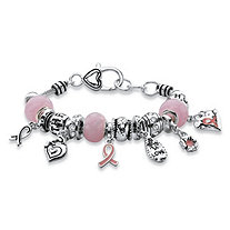 "Pink Breast Cancer Bali-Style Full Beaded Charm Bracelet in Silvertone 7""-8"""